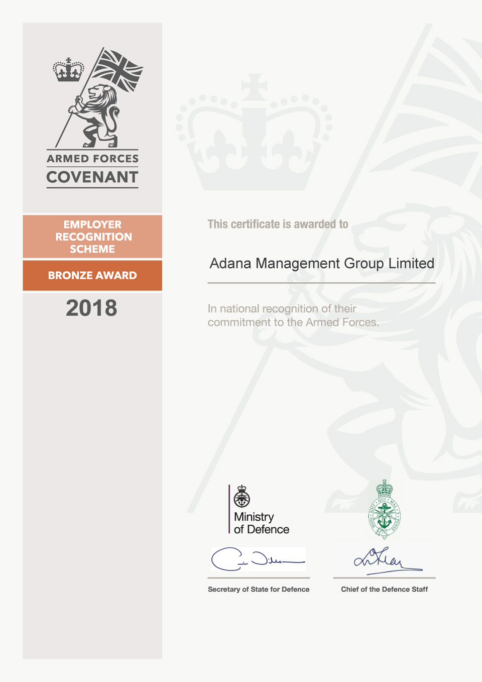 Armed Forces Covenant Bronze Award Certificate
